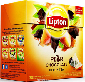 LIPTON PEAR CHOCOLATE BLACK TEA 20 пирамидок