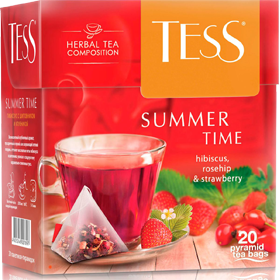 TESS SUMMER TIME HIBISCUS, ROSEHIP & STRAWBERRY 20 пирамидок