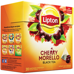 LIPTON CHERRY MORELLO BLACK TEA 20 пирамидок