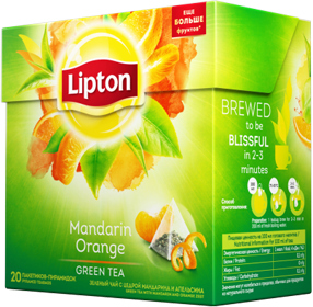 LIPTON MANDARIN ORANGE GREEN TEA 20 пирамидок