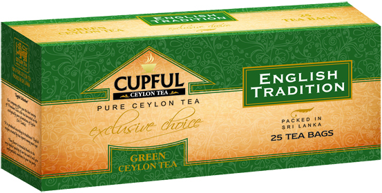 CUPFUL ENGLISH TRADITION GREEN CEYLON TEA 25 ПАКЕТИКОВ