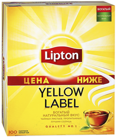 LIPTON YELLOW LABLE BLACK TEA 100 ПАКЕТИКОВ