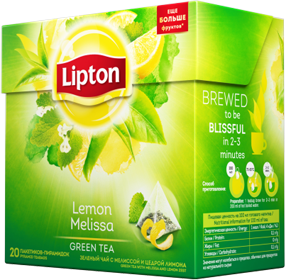 LIPTON LEMON MELISSA GREEN TEA 20 пирамидок