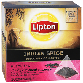 LIPTON INDIAN SPICE DISCOVERY COLLECTION BLACK TEA 20 пирамидок