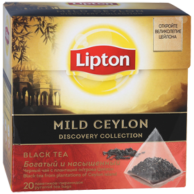LIPTON MILD CEYLON DISCOVERY COLLECTION BLACK TEA 20 пирамидок