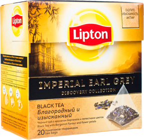 LIPTON IMPERIAL EARL GREY DISCOVERY COLLECTION BLACK TEA 20 пирамидок